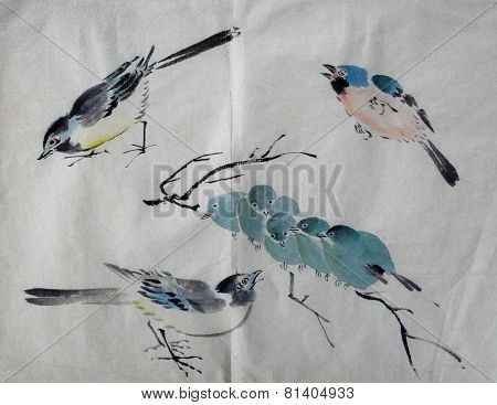 Vintage Japanese Watercolor With Birds From Student Portfolio