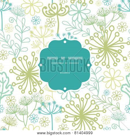 Vector mysterious green garden frame seamless pattern background