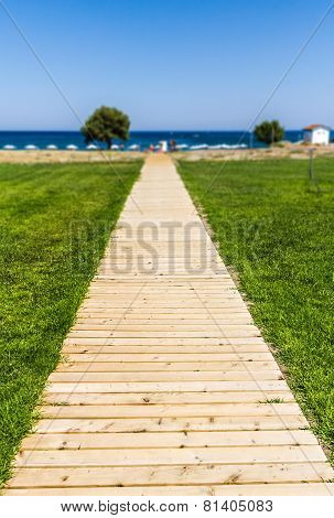 Wooden Path To The Sea - Summer Vacation Background