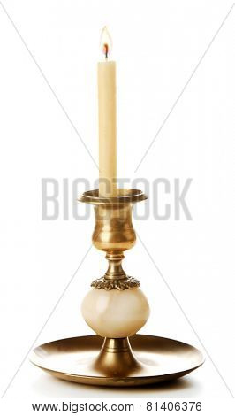 Retro candlestick with candle, isolated on white