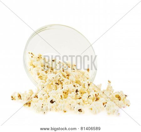 Overturn bowl of corn isolated