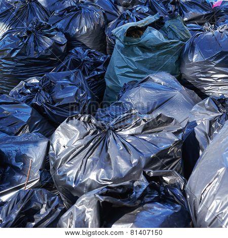 Pile of full garbage bags