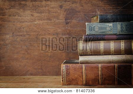 old book on wooden background.