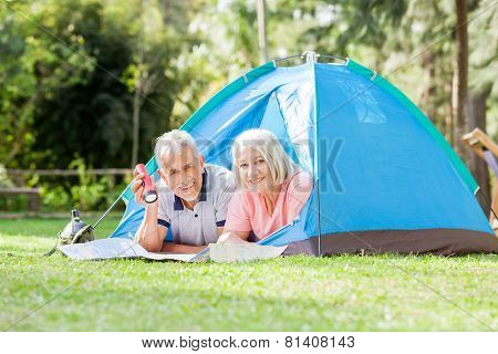 Portrait of smiling senior couple with torch and map in tent at park