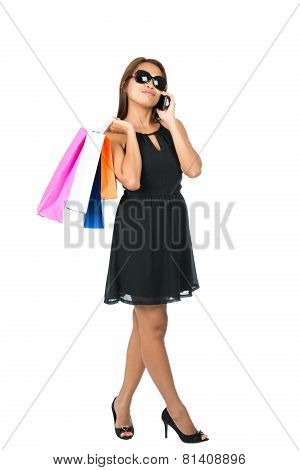Asian Shopping Bags Dress Sunglasses Phone Away