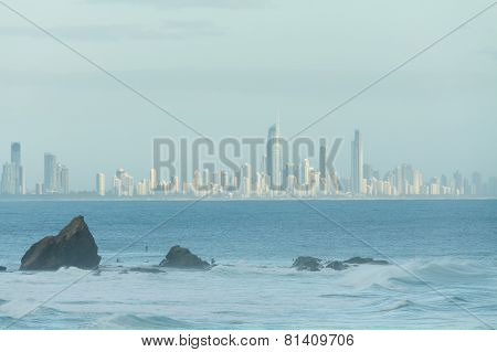 Currumbin Rock With Gold Coast City As Background