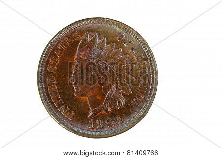 Indian Head Cent In Mint State Condition Isolated On White