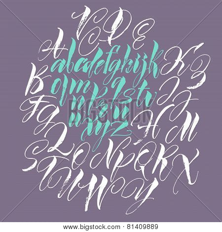 Alphabet letters: lowercase. Vector alphabet. Hand drawn letters. Letters of the alphabet written w