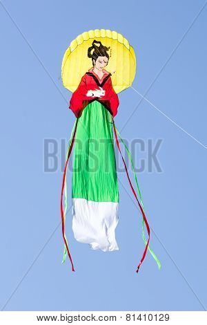 Great Japanese Woman Kite In The Blue Sky