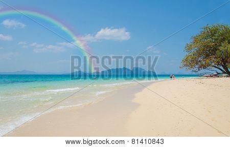 Colorful Rainbow Over A Tropical Beach Of Andaman Sea, Thailand.