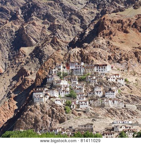 Kursha Monastery Panorama At Zanskar