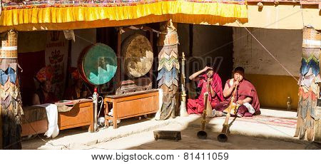 Korzok, India - Jul 23:  Musicians At The Cham Dance Festival On Jul 17, 2012 In Korzok, India.