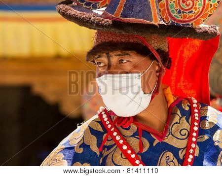 The Monk Performs A Religious Black Hat Dance