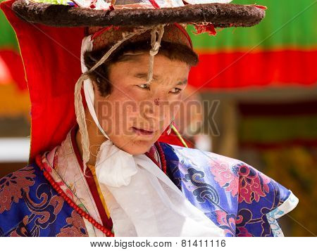 The Monk Performs Religious Black Hat Dance During The Cham Dance Festival