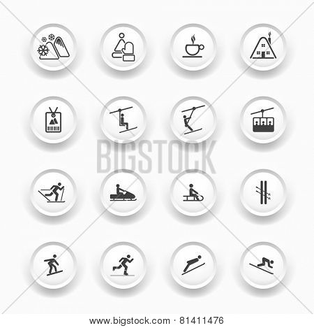 Winter Icons - Buttons Set - Ski sport / Resort