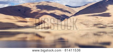 Tso Moriri Lake And Himalayas Mountains Magic View