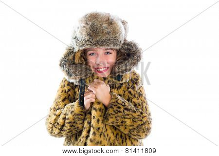 Blond winter kid girl cold freeze gesture expression with fur clothes fashion and cap