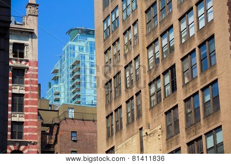 Manhattan New York downtown aged building textures in US