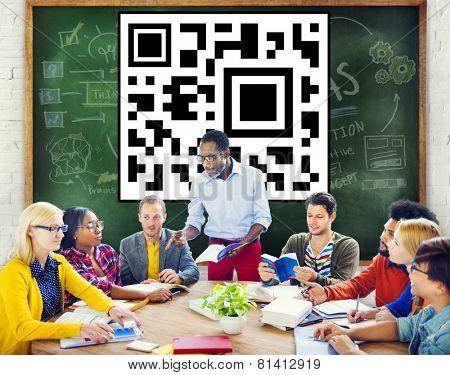 QR Code Identity Marketing Data Encryption Concept