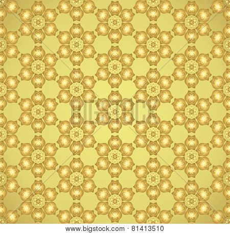Gold Tulip Flower And Swirl Pattern On Pastel Background