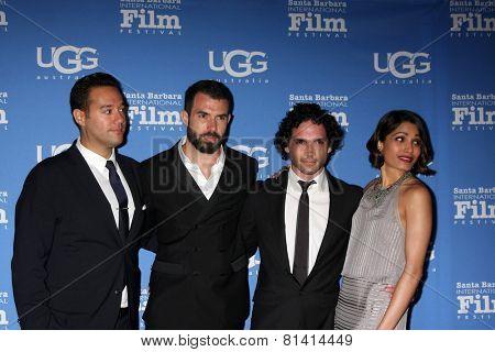 SANTA BARBARA - JAN 27:  Richard Raymond, Tom Cullen, Reece Ritchie, Freida Pinto at the SBIFFl - US Premiere of