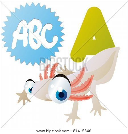 animal abc learning for kids: A is for cute little Axolotl, vector illustration set for children, bright colors for flash card game