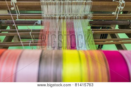 Yarn Pattern Is Set Up On The Loom Bench And Ready To Weave.
