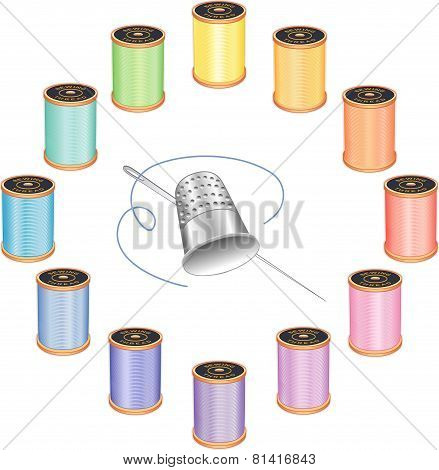 Sewing Needle, Thimble And Pastel Threads
