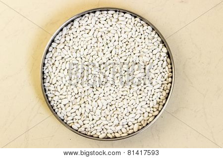 sugar coated fennel seeds kept in a plate on plain background