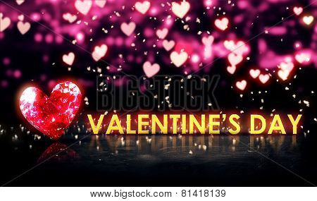Valentine's Day Beautiful Bokeh Blue 3D