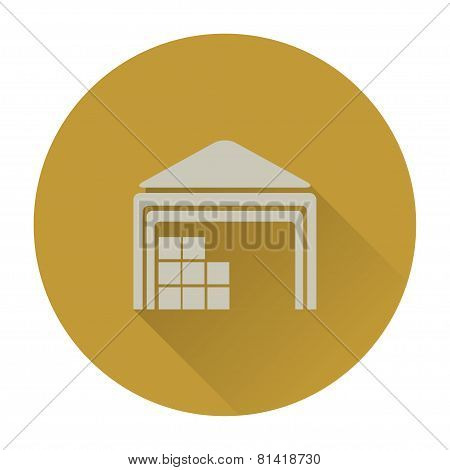Warehouse Flat Icon With Long Shadow