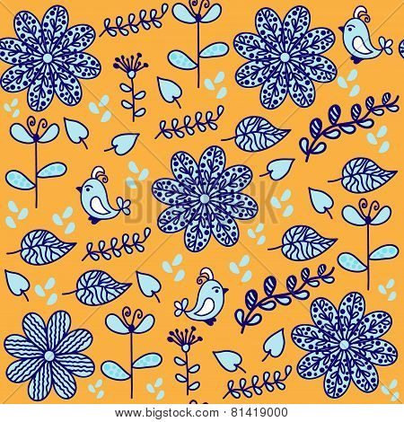 Bright  Floral Seamless Pattern With Cute Birds And Seamless Pattern In Swatch Menu, Vector. Cute Ba