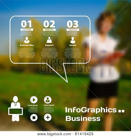 Set Of Infographics On Blurred Photographic Background Of The Business