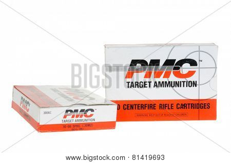Hayward, CA - January 13, 2015: Box of PMC Target Ammunition in 30.06 caliber