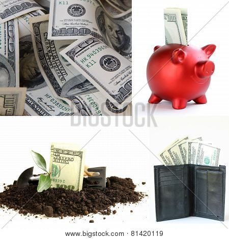 collage concept of profit and business development (U.S. dollars )