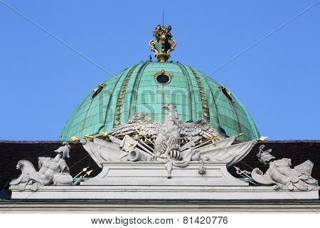 VIENNA, AUSTRIA - OCTOBER 10: Architectural decorations on Hofburg palace. Hofburg was residence of Habsburg dynasty, rulers of Austro-Hungarian Empire. Vienna, Austria on October 10, 2014.