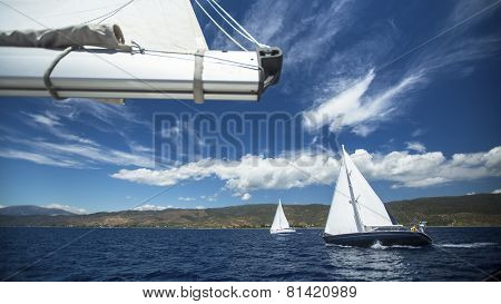 Group yacht sailing. Sailing yacht race. Sailing boat in the sea. Luxury yacht.