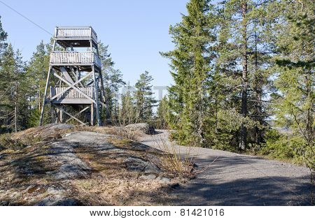 Modern bird watching tower on a hill.