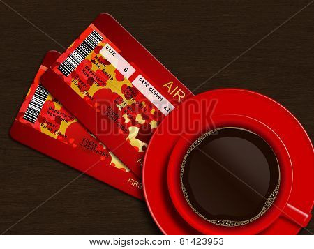 Coffee With Valentine Air Tickets Over Wooden Table
