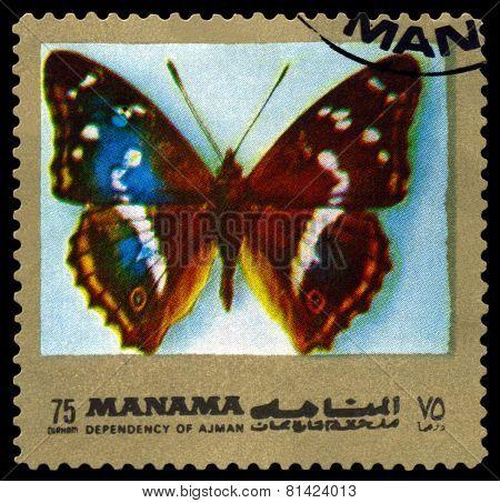 Vintage  Postage Stamp. Butterfly Apatura Iris.