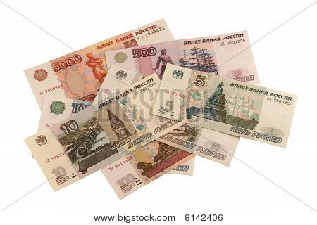 Russian roubles. Different banknotes on white background.