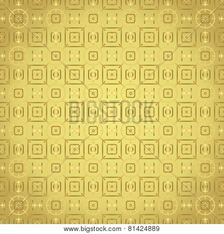 Gold Rounded Corner Rectangle And Flower And Line Pattern