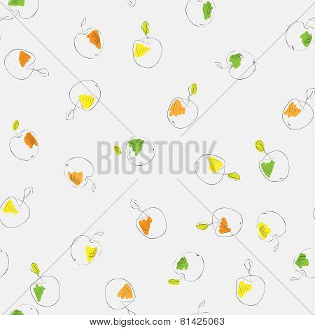 colorful apples seamless pattern