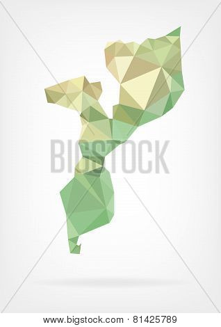 Low Poly map of Mozambique
