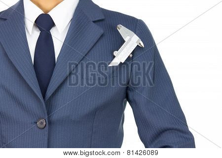 Businessman And Vernier Caliper In Pocket Isolated On White Background