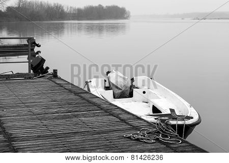 Po river moorage. Black and white photo