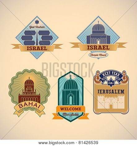 Set of retro-styled Israel tour labels. Editable vector illustration.