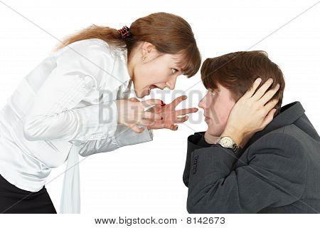 Young Woman Shouting At A Man