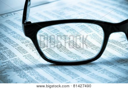 Business Financial Newspaper Report See Through Glasses Lens, Workplace Of The Businessman