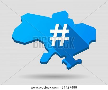 Ukraine Green Map Icon With A Hash Tag